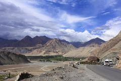 Road to Leh town, Ladakh, Jammu and Kashmir, India stock image
