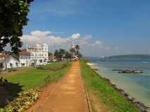 Road to lighthouse at Fort Galle, Sri-Lanka Royalty Free Stock Images