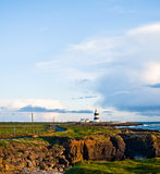 A Road to Lighthouse, Hook Head, Ireland Stock Photos