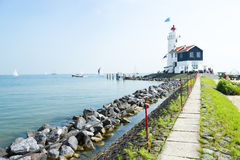 The road to lighthouse, Marken, the Netherlands Royalty Free Stock Image