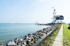 The road to lighthouse, Marken, the Netherlands Royalty Free Stock Photo
