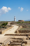 The road to the lighthouse through the ruins Royalty Free Stock Photo