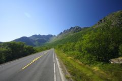 Road to Lofoten islands. The road through norway leading to Lofoten islands in sunny day Royalty Free Stock Image