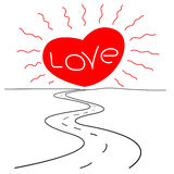 Road to love romantic conceptual pattern Royalty Free Stock Images