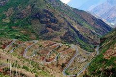 ROAD to Lugu Lake Stock Photo