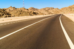 Road to Luxor from Safaga. Royalty Free Stock Photo