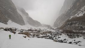 Road to Machapuchare Base camp royalty free stock images