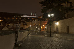 The road to Mala Strana by night Stock Photography