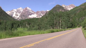Road to the Maroon Bells. The road leading to the scenic maroon bells aspen colorado in summer stock footage