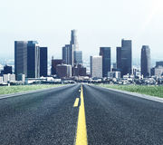 Road to modern city. And beautiful nature Royalty Free Stock Photo