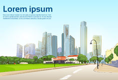 Road to Modern City View Skyscraper Cityscape. Background with Copy Space Vector Illustration Stock Photo
