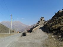 The road to the monastery of Kurtat gorge Ossetia stock image