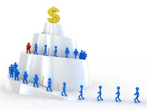 Road to money. Team with leader walking upward to money Stock Photos