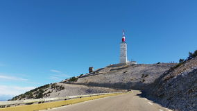 The Road to Mont Ventoux in Provence, France. Vehicle point of view shot while driving on the road climbing the North face of the famous Mont Ventoux located in stock video