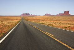Road to the Monument Valley. View of the Road to the Monument Valley Royalty Free Stock Photography