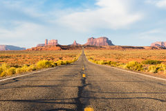 Road to the Monument Valley. Awesome view of the road to Monument Valley, Arizona Royalty Free Stock Photo