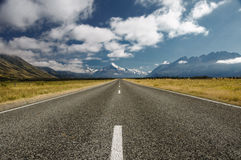 Road to Mount Cook. View from the road looking up towards Mount Cook, New Zealand stock image