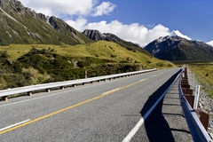Road to the Mount Cook. On South Island of New Zealand Stock Photography