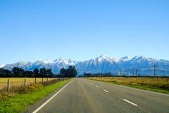 Road to mount cook, New Zealand. Road to Aoraki Mount Cook, New Zealand Stock Photo