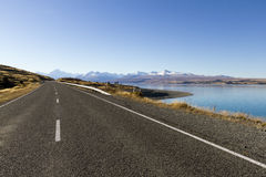 Road to mount Cook. New Zealand. One of the most beautiful scenic road in South land New Zealand Royalty Free Stock Image