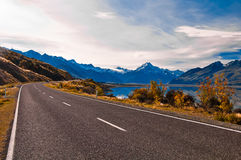 Road to Mount Cook and Pukaki lake Stock Image