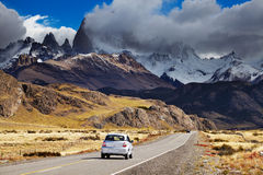 Road to Mount Fitz Roy, Patagonia, Argentina. Mount Fitz Roy in the clouds, road to Los Glaciares National Park, Patagonia, Argentina Stock Images