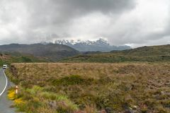 On The Road to Mount Ruapehu, New Zealand Landscape stock photo