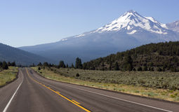 Highway 97 Two Lane Road to Mount Shasta. The Road to Mount Shasta in California Stock Images
