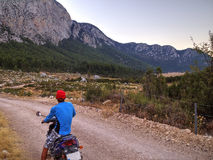 On the road to the Mount Tahtali with motorbike, Turkey Royalty Free Stock Photography