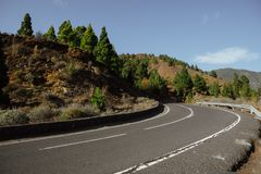 Road to Mount Teide National Park. At sunny day Stock Photo