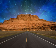 Road to Mountain. With stars Royalty Free Stock Photo