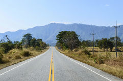 Road to mountain. On December in Uttaradit, Thailand royalty free stock photo