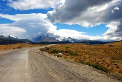 Road to the mountain. The road to the town of el chalten in patagonia argentina Stock Photo