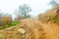 Road to the mountain, autumn landscape of mountains. In dense fog royalty free stock photos