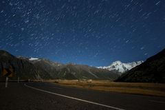 Road to the mountain in Mt. Cook Stock Images