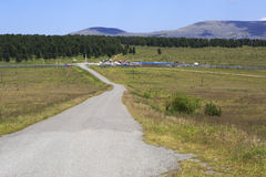 Road to mountain pass Seminsky and Chuysky Trakt Royalty Free Stock Photos