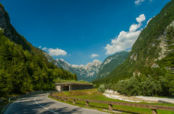Road to mountain pass Vrsic, Slovenia Royalty Free Stock Images