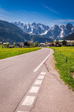 Road to mountain village Gosau in Austrian Alps Stock Image