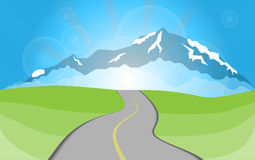 Road to mountains stock illustration