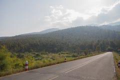 Road to mountains. Road to the big mountain Stock Photo