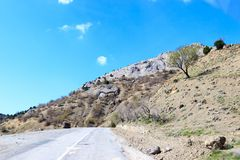 Road to mountains. In the mountains of Crimea there is a road in the sky Royalty Free Stock Photo