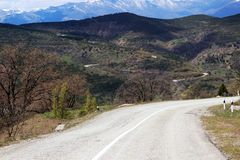 Road to mountains. In the mountains of Crimea there is a road in the sky Royalty Free Stock Photography