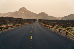 Road to the mountains of El Teide national park in Tenerife Royalty Free Stock Photo