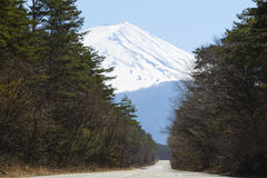 Road to the mountains. Empty road to the fuji mountains Stock Photography