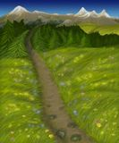 Road to the mountains through the field and the forest royalty free illustration