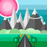 Road to mountains. Flat design landscape with road to mountains Royalty Free Stock Images