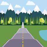Road to Mountains flat illustration Stock Images