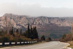 Road to the mountains, fog, Russia, Crimea Stock Images