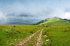 The road to the mountains. The long beautiful road leads up Stock Photography