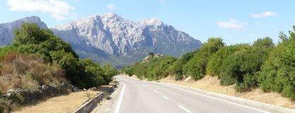 Road to mountains panorama royalty free stock photo
